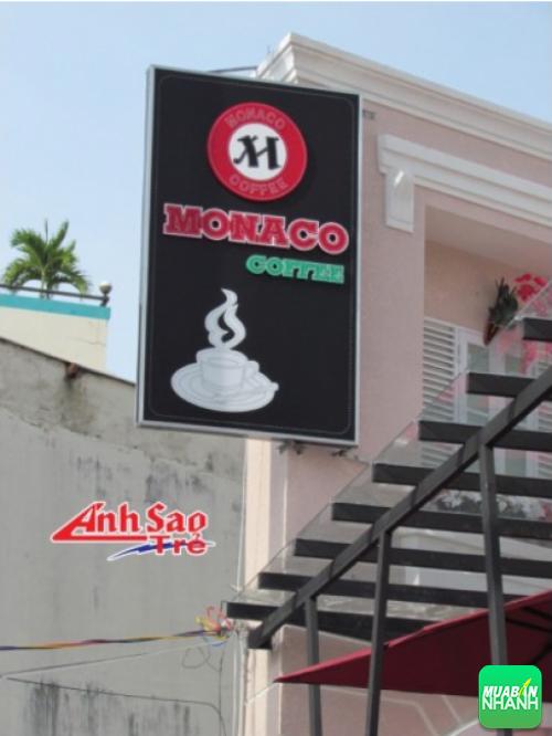 Biển hiệu đèn led cho MONACO Coffee, kích thước và thiết kế dựa trên yêu cầu của khách hàng