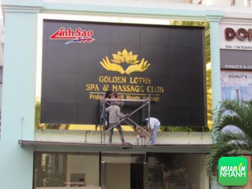 Thi công bảng hiệu quảng cáo ngoài trời chất lượng cao, bền lâu cho Golden Lotus Spa & Massage Club